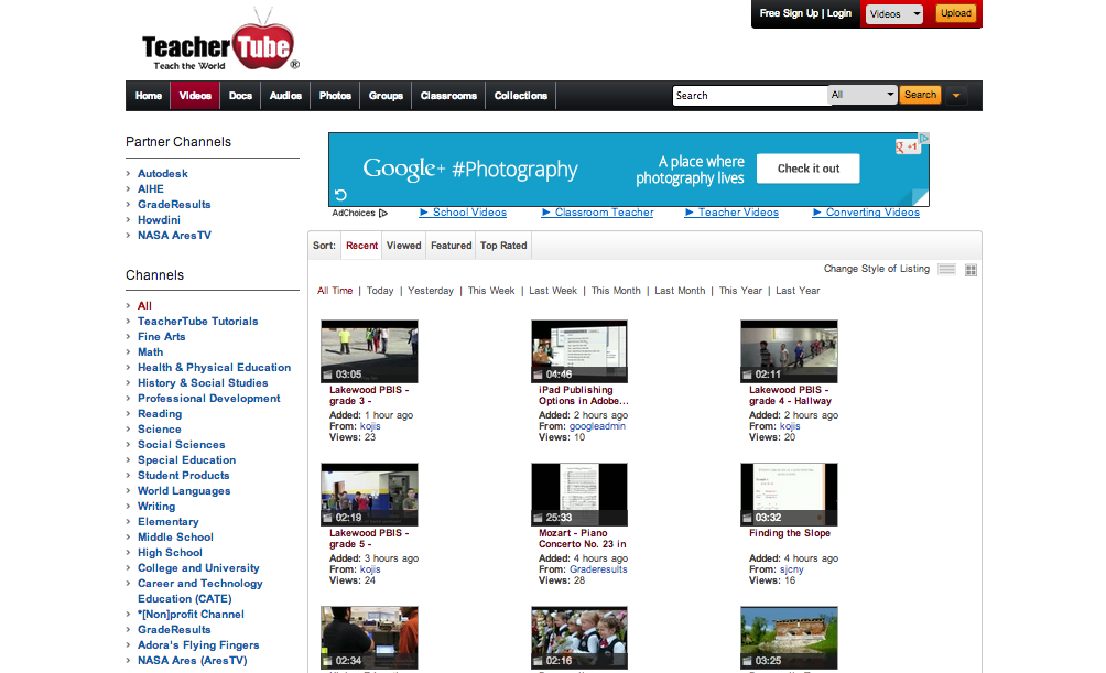 Educational Video Resource: TeacherTube