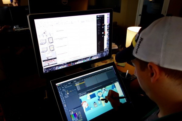 Here's a closer look at John working on his artwork in Flash.