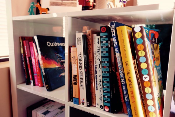 Our little library, for inspiration and guidance.