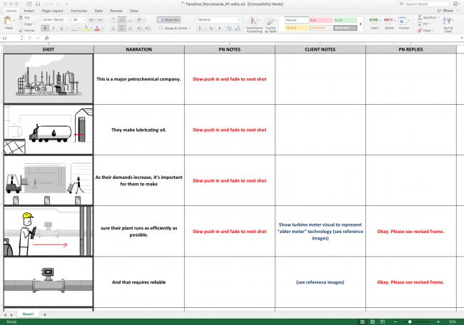 Excel Storyboard